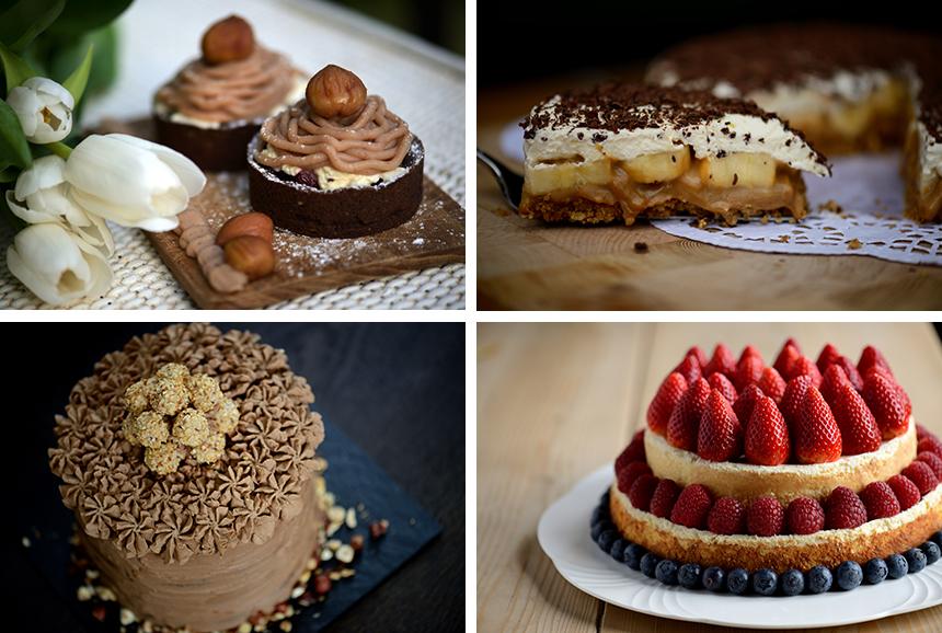 Maronitartelettes, Banoffee Pie, Nougattorte und Cheesecake